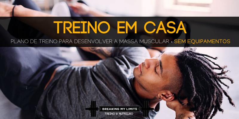 Plano para treinar em casa sem equipamento e desenvolver a massa muscular - banner
